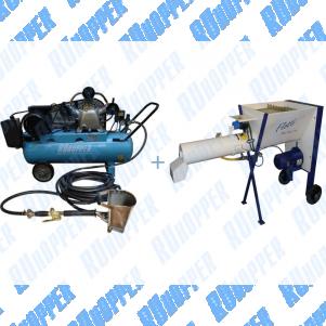 Штукатурная мини станция Ruhopper ЕК-1RH 640/100 220V 3 кВт для стен + Растворосмеситель Stirex ms10
