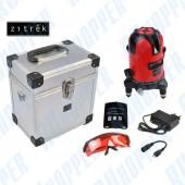 Лазерный уровень ZITREK самовыравнивающийся (2 линии, красный луч, литиевый аккумулятор, металлический кейс)